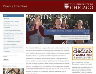 Main page screenshot of parents.uchicago.edu