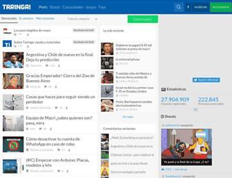Main page screenshot of taringa.net