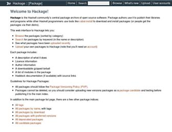 hackage.haskell.org screenshot