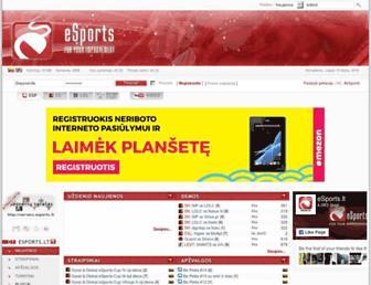 Main page screenshot of esports.lt