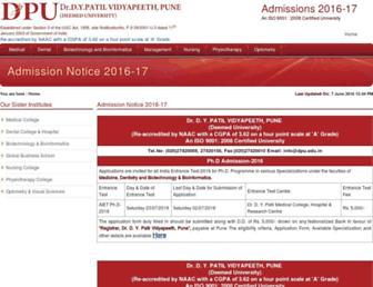 admissions.dpu.edu.in screenshot
