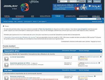 Main page screenshot of forum.joomla.fr