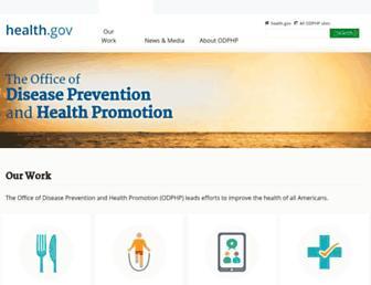 Main page screenshot of health.gov