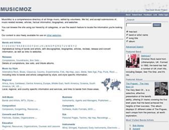 Main page screenshot of musicmoz.org