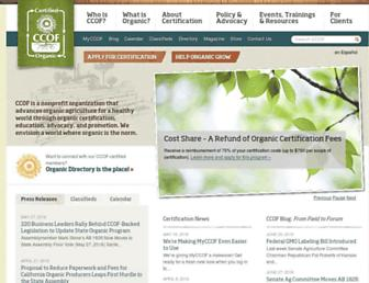 Main page screenshot of ccof.org