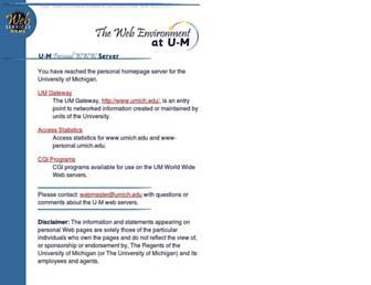 Main page screenshot of www-personal.umich.edu