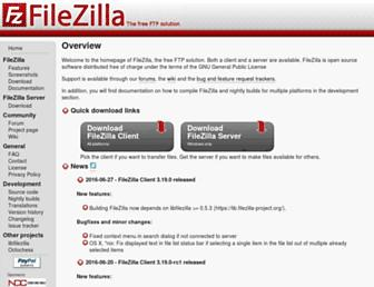 Main page screenshot of filezilla-project.org