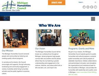Main page screenshot of michiganhumanities.org