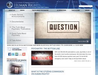 Main page screenshot of cchr.org