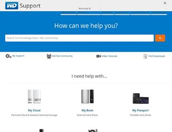 support.wdc.com screenshot