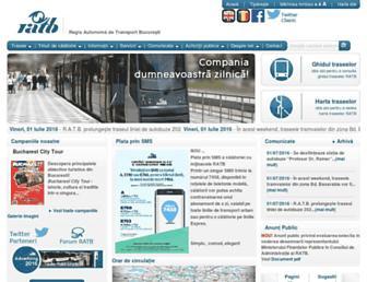 Main page screenshot of ratb.ro