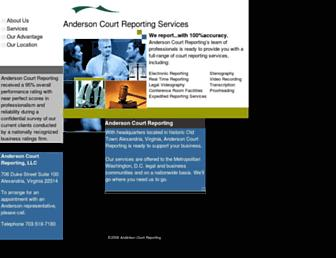 Main page screenshot of andersonreporting.net