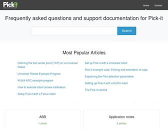 support.pickit3d.com screenshot