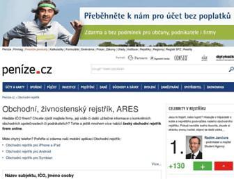 rejstrik.penize.cz screenshot