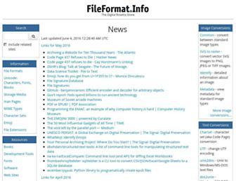 Main page screenshot of fileformat.info