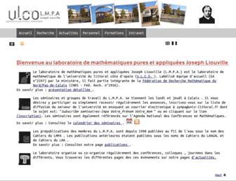 Main page screenshot of www-lmpa.univ-littoral.fr