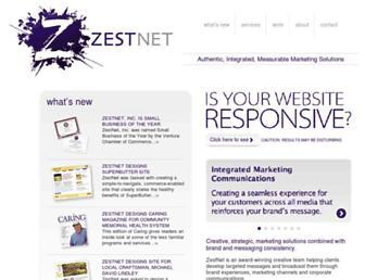 Main page screenshot of zest.net