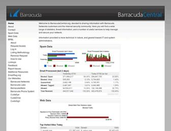 Main page screenshot of barracudacentral.org