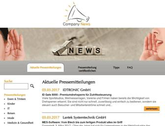 Main page screenshot of company-news.de
