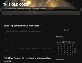 Main page screenshot of thisoldcode.net