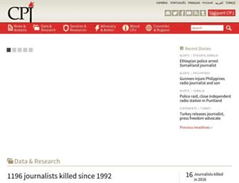 Main page screenshot of cpj.org