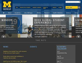 Main page screenshot of umich.edu