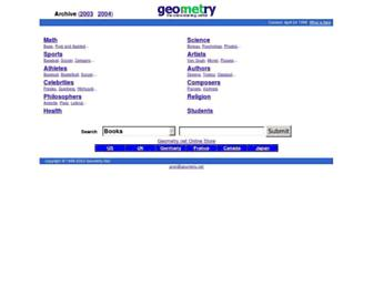 Main page screenshot of www5.geometry.net