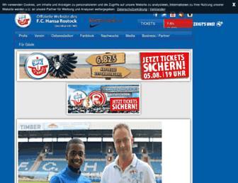 Main page screenshot of fc-hansa.de