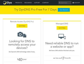 Main page screenshot of dyndns.org