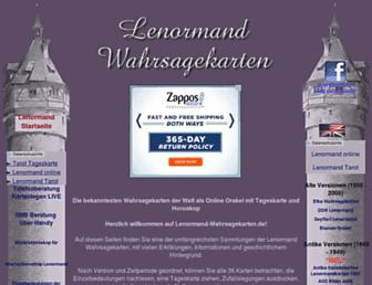 Main page screenshot of lenormand-wahrsagekarten.de