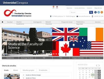 Main page screenshot of ciencias.unizar.es