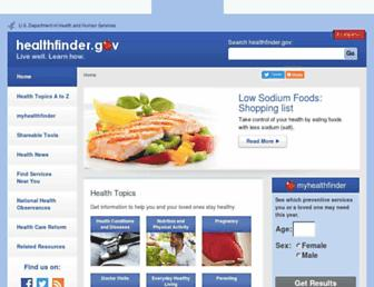 Main page screenshot of healthfinder.gov