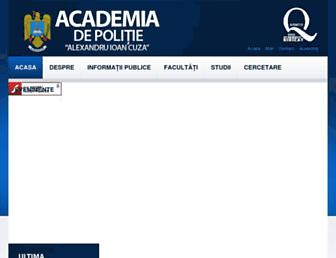 Main page screenshot of academiadepolitie.ro