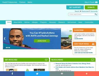 Main page screenshot of aafa.org