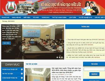Main page screenshot of daklak.edu.vn
