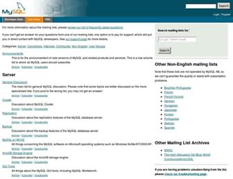 lists.mysql.com screenshot