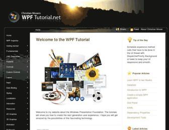 Main page screenshot of wpftutorial.net