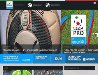 Main page screenshot of lega-calcio-serie-c.it