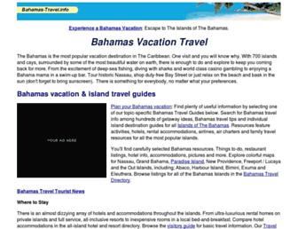 Main page screenshot of bahamas-travel.info