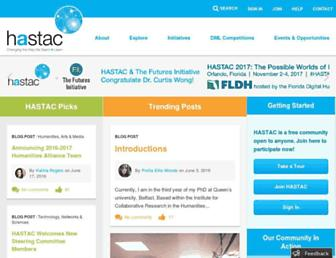 Main page screenshot of hastac.org