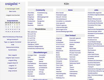 Main page screenshot of cologne.craigslist.de