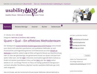 Main page screenshot of usabilityblog.de