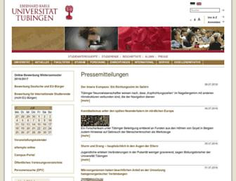 Main page screenshot of uni-tuebingen.de