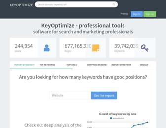 Main page screenshot of keyoptimize.in