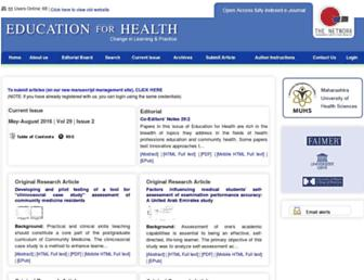 Main page screenshot of educationforhealth.net