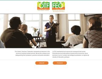 Main page screenshot of otffeo.on.ca