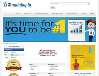Main page screenshot of domaining.in