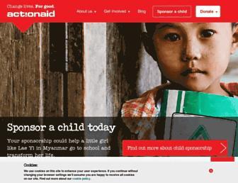 Main page screenshot of actionaid.org.uk