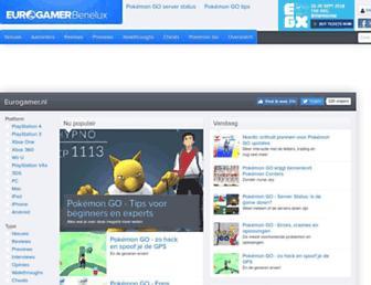 Main page screenshot of eurogamer.be