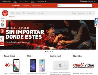 Main page screenshot of claro.com.ec